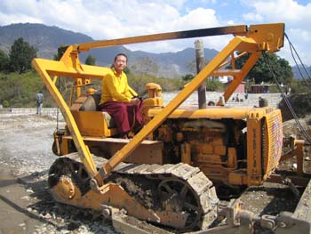 Khondung Gyana Vajra Rinpoche at the Sakya Academy construction site